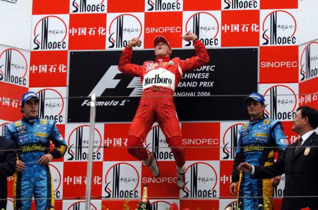 Michael Schumacher wins in 2006 at the Chinese GP