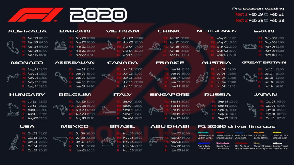 F1 2020 season calendar